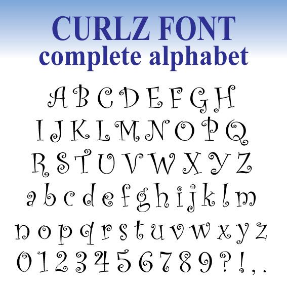 Stitchontime fonts a1 curlz full embroidery 25mm 50mm 75mm spiritdancerdesigns Images