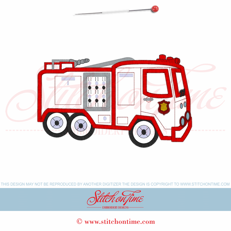 Santa On Fire Truck Embroidery Design